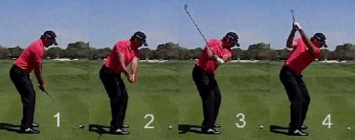 golf swing hitting down on the ball