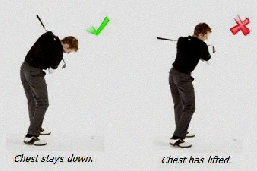lifting head in golf swing